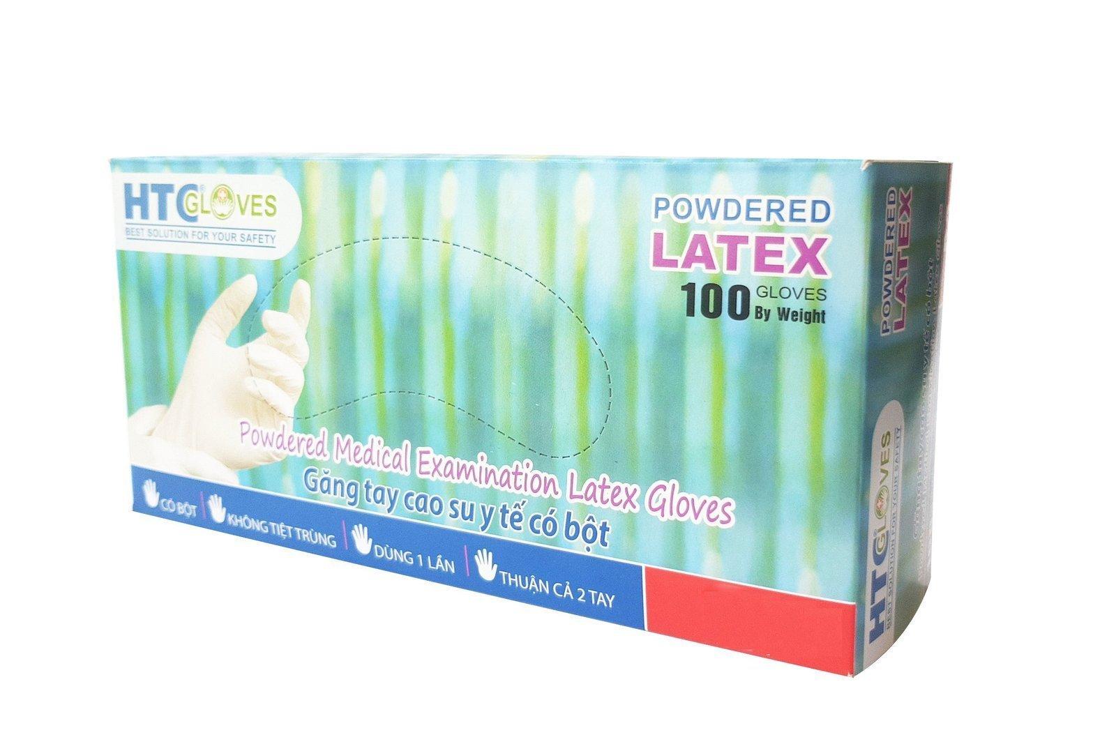HTCGloves Medical Handschuhe Latex Pulver Größe L 100 Stck